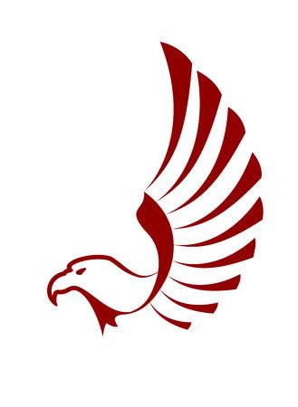 halcón: Águila roja con las alas para el diseño del tatuaje Vectores