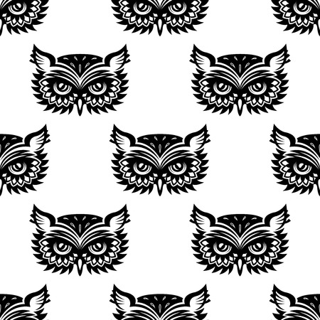 owl tattoo: Seamless pattern with black owl head for any background design