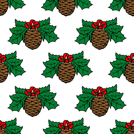 fir cone: Fir cone seamless pattern background for holiday design