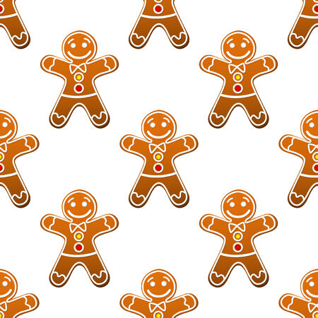 spice cake: Gingerbread man cookie seamless pattern for christmas design