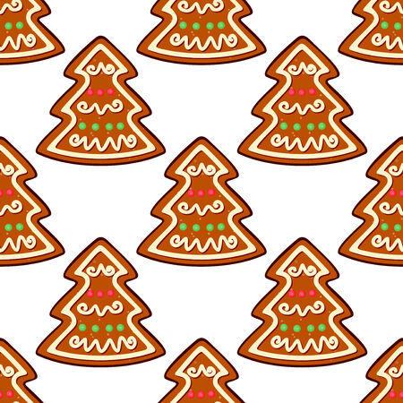 spice cake: Gingerbread new year tree seamless pattern for winter holiday design