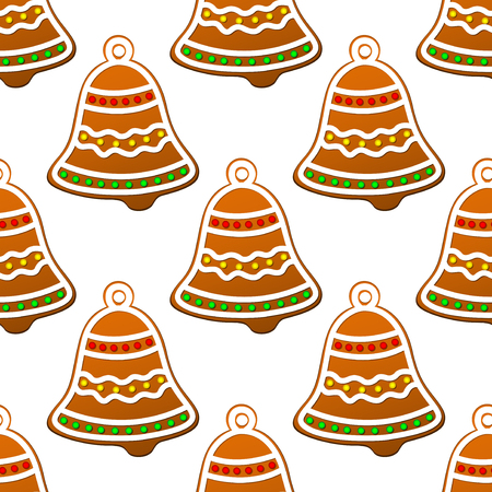 Christmas gingerbread bell seamless background for holiday design Vector