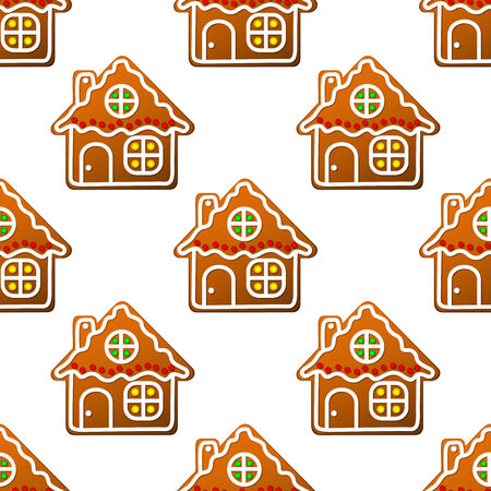 Gingerbread houses and homes seamless pattern for christmas design Vector
