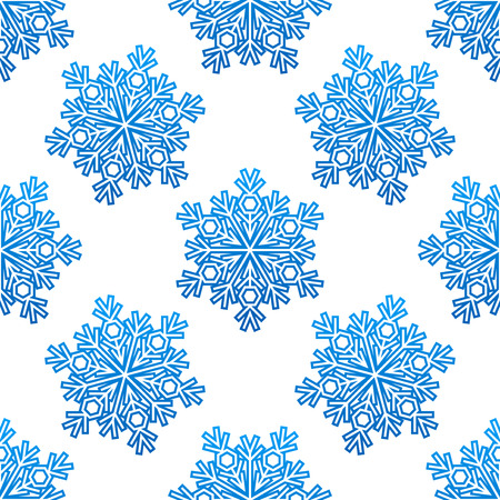 rime: Decorative blue snowflakes seamless pattern for seasonal winter design Illustration