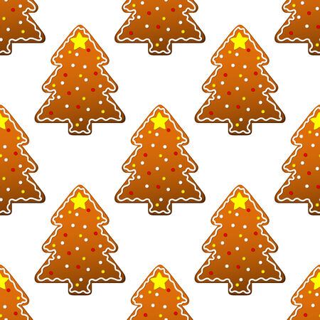 New year gingerbread tree seamless pattern for winter holidays design Vector