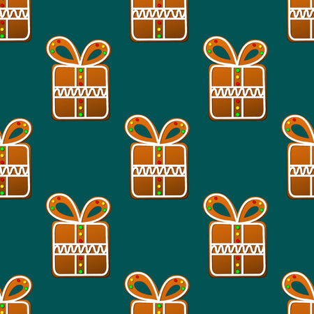 Gift gingerbread seamless pattern background for holiday design Vector