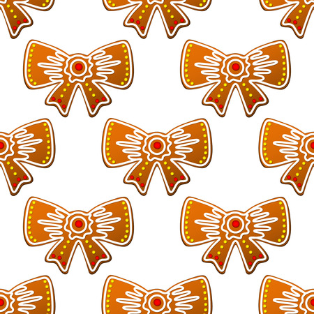 Christmas gingerbread bows seamless pattern for holiday design Vector