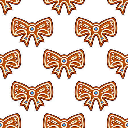 Gingerbread bows seamless pattern background for holiday design Stock Vector - 24546248