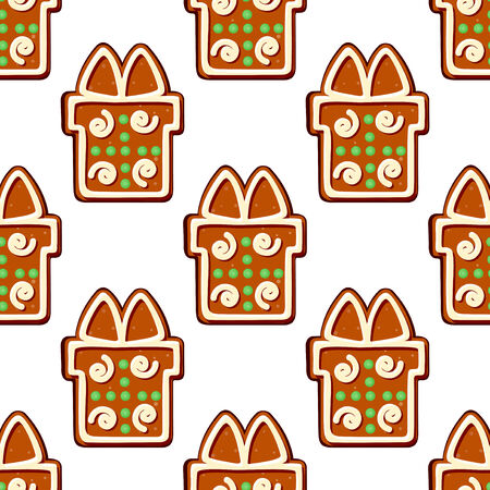Gingerbread gifts and presents seamless pattern for holiday design Vector