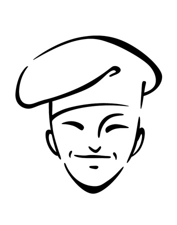 Doodle illustration of a chinese smiling friendly chef in a traditiopnal hat or toque Vector