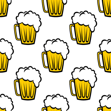 Seamless repeat pattern background of golden tankards of frothy beer or ale suitable for print, wallpaper or fabric design Vector