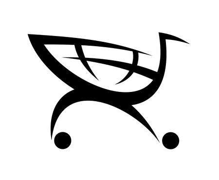 Zwart symbool van een winkelwagentje, geïsoleerd op witte achtergrond