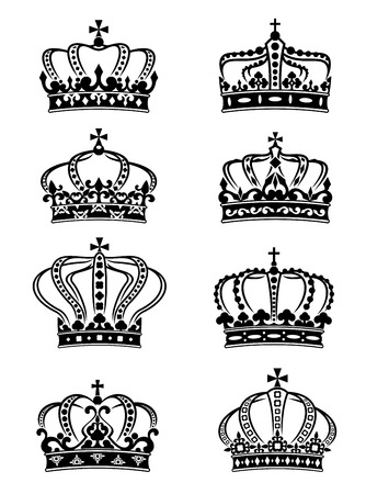queen crown: Set of heraldic royal crowns in ornate filigree calligraphic designs
