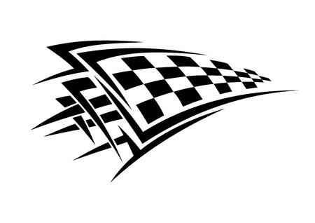 motor race: Tribal sport racing tattoo met geblokte vlag Stock Illustratie