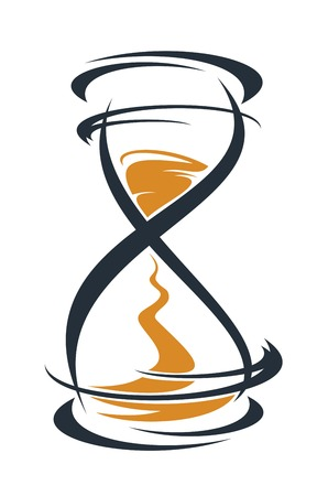 passing: Doodle boceto de un reloj de arena estilizada con la arena que atraviesa entre los bulbos medir el paso del tiempo, contorno en negro y marr�n sobre fondo blanco