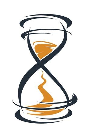 piasek: Doodle szkic stylizowane zegar klepsydry z piaskiem uruchomiony przez między żarówkami pomiar czasu mijania, zarys w kolorze czarnym i brązowym na białym