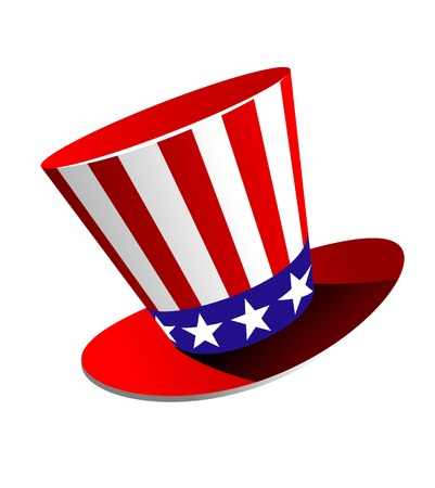 jaunty: Patriotic American top hat in the red, white and blue colours of the Stars and Stripes at a jaunty angle on a white background