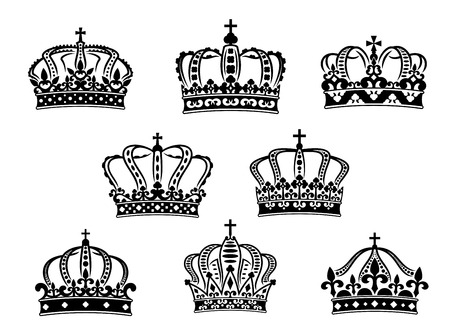 Collection of eight vintage heraldic royal crowns of different ornate shapes and calligraphic designs in black on a white background Vector