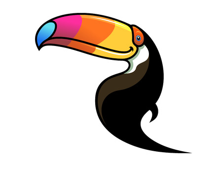Cartoon black toucan with a large colourful multicoloured beak isolated on white Stock Vector - 24873988
