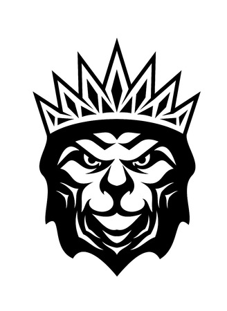 cartoon king: Heraldic crowned lion, a symbol of royalty or the king of the jungle, black and white cartoon sketch