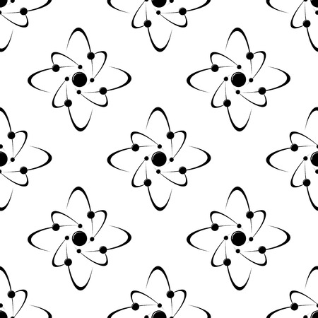 atom symbol: Seamless pattern of molecules around a central sphere of atom Illustration