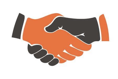 human icons: Conceptual image of two people of different ethnicities shaking hands between cultural communities either during a business agreement or in everyday life as a show of trust