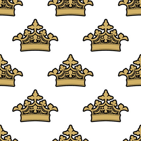 coronation: Seamless background pattern of ornate golden royal crowns on a white background
