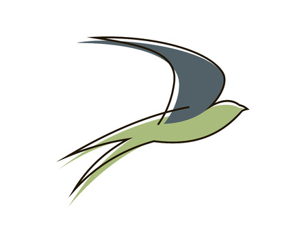 martin: Stylised sketch of the silhouette of a graceful flying swallow bird with outstretched wings