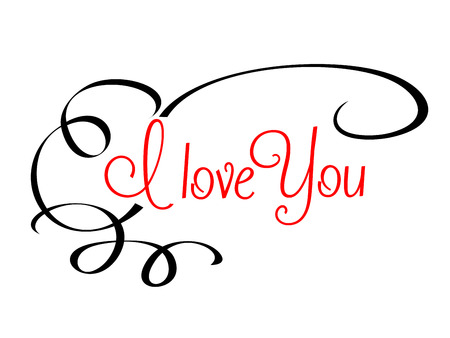 I Love You header with calligraphic red text surrounded by a flowing scroll on a plain white background Ilustração