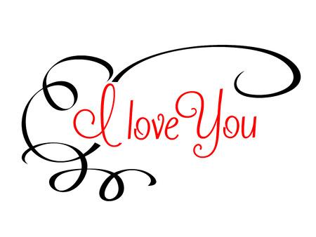 te amo: Te Amo encabezado con el texto en rojo caligr�fico rodeado de un pergamino que fluye sobre un fondo blanco liso