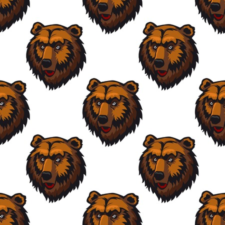 kodiak: Seamless pattern of brown bear head trophies for background design Illustration