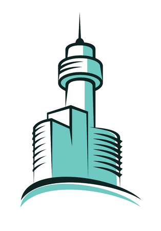 topped: Modern skyscraper symbol with skyscrapers topped with high tower with a tall antenna Illustration