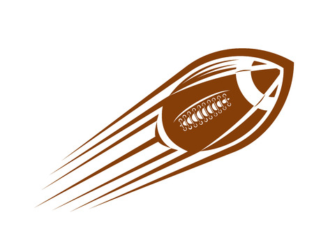 throwing ball: American football or rugby ball flying through the air  at great speed leaving a motion trail Illustration