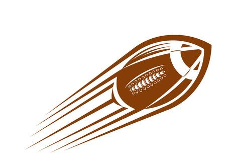 pelota de rugby: El fútbol americano o pelota de rugby volando por el aire a gran velocidad dejando una estela de movimiento Vectores