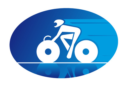 Blue oval icon of a racing cyclist on a bicycle travelling at speed and wearing a safety helmet Vector