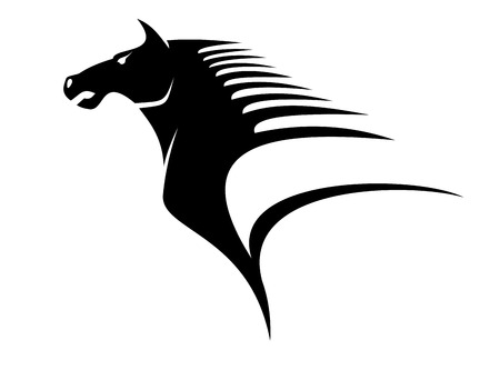 equestrian sport: Stylized black and white illustration of the head of a horse with flying mane giving a dynamic appearance of speed