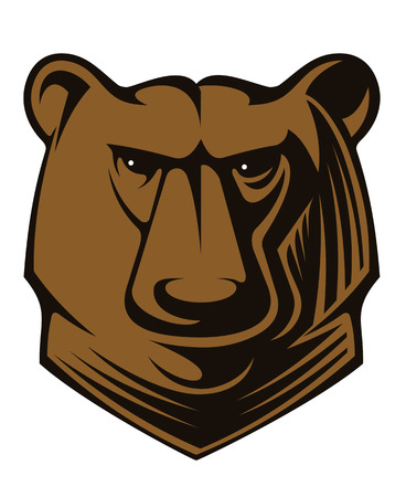 Cartoon illustration of a big brown bear head with glistening eyes staring Vector