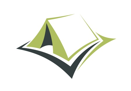 campsite: Stylized illustration of a small portable green tent with an opening in the front Illustration
