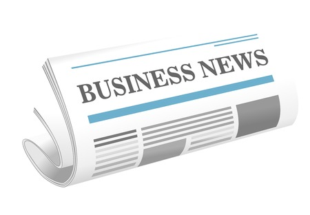 Dimensional illustration of a folded newspaper or journal, the Business News, lying at an oblique angle on a white background Vector