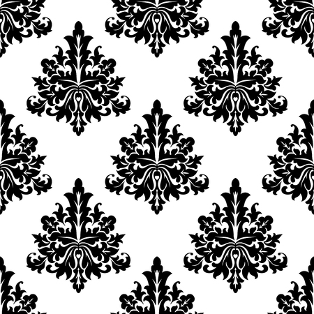 Seamless damask style motif floral wallpaper in black and white