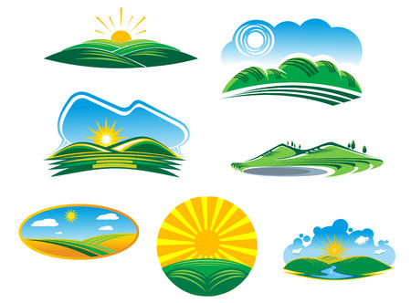 Set of seven different sunny summer landscapes with beautiful green fields and hills basking in the rays of sunshine