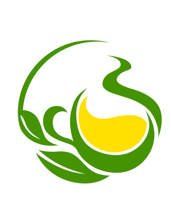 Conceptual icon or symbol with a green bio or eco design with swirling leaves cupping a yellow flower or pool of golden sunshine