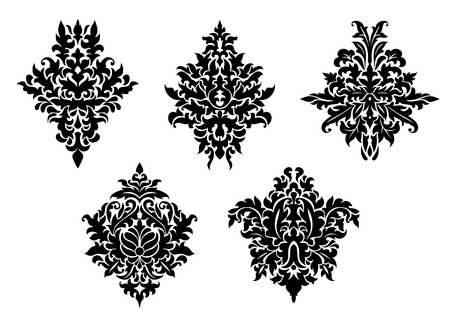 foliate: Set of five different foliate arabesque patterns in black and white with acanthus leaf motifs