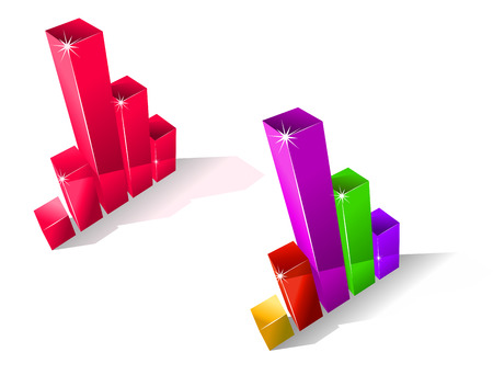 overgrown: Two colourful fluctuating bar graphs viewed from a high angle