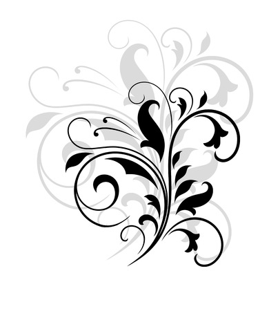 Elegant black and white swirling floral pattern with flourishes and an enlarged grey Иллюстрация