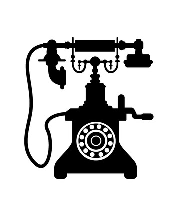 telephone receiver: Black and white silhouette of an old vintage telephone with a crank handle, dial and mouthpiece on a cradle