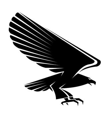 Schwarzer Adler Tattoo isoliert auf weißem Hintergrund Illustration