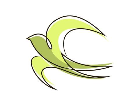 Gestileerde vliegende vogel met uitgespreide vleugels en staart in een vloeiende omtrek groen gekleurd symbool van vrede en vrijheid