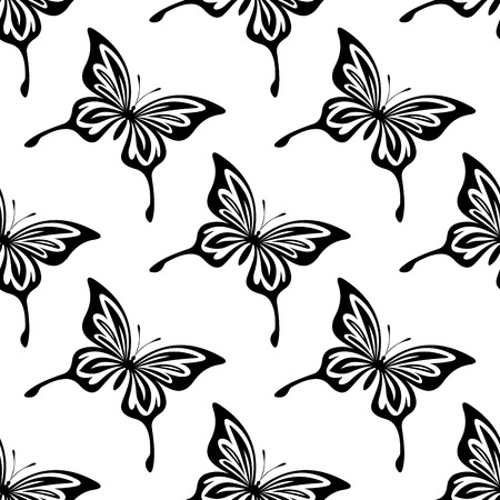 outspread: Repeat seamless black and white pattern of butterflies with outspread wings shaped like those of the swallowtail Illustration