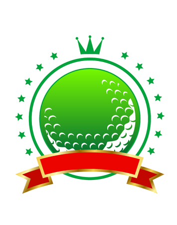 topped: Golfing championship icon or winners banner with a green golf ball enclosed by a ring of stars topped with a crown and with a blank ribbon
